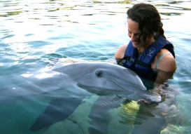 Stephanie with Dolphine in Tulum